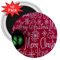 Christmas Decorations Retro 3  Magnets (10 pack)