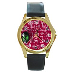 Christmas Decorations Retro Round Gold Metal Watch