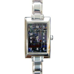 Christmas Boats In Harbor Rectangle Italian Charm Watch