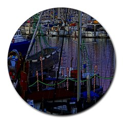 Christmas Boats In Harbor Round Mousepads