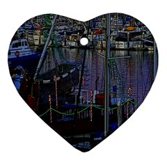 Christmas Boats In Harbor Ornament (Heart)