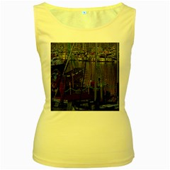 Christmas Boats In Harbor Women s Yellow Tank Top