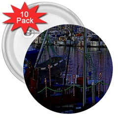 Christmas Boats In Harbor 3  Buttons (10 pack)