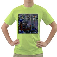 Christmas Boats In Harbor Green T-Shirt