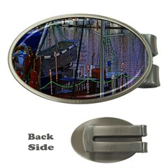 Christmas Boats In Harbor Money Clips (Oval)
