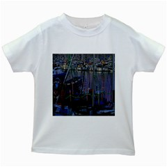 Christmas Boats In Harbor Kids White T Shirts