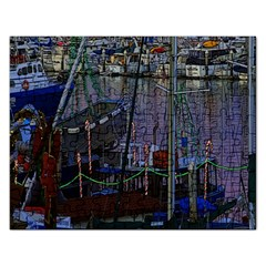 Christmas Boats In Harbor Rectangular Jigsaw Puzzl