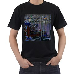 Christmas Boats In Harbor Men s T-Shirt (Black) (Two Sided)