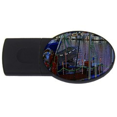Christmas Boats In Harbor USB Flash Drive Oval (4 GB)
