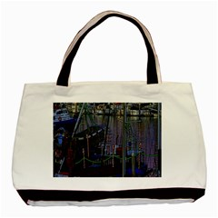Christmas Boats In Harbor Basic Tote Bag