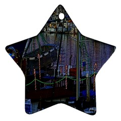 Christmas Boats In Harbor Star Ornament (Two Sides)