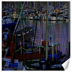 Christmas Boats In Harbor Canvas 16  x 16