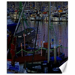 Christmas Boats In Harbor Canvas 20  x 24