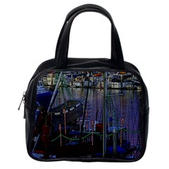 Christmas Boats In Harbor Classic Handbags (one Side)
