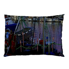 Christmas Boats In Harbor Pillow Case