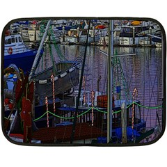 Christmas Boats In Harbor Double Sided Fleece Blanket (Mini)