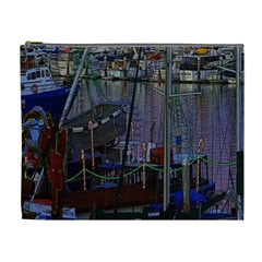 Christmas Boats In Harbor Cosmetic Bag (xl)