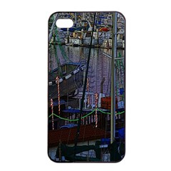 Christmas Boats In Harbor Apple iPhone 4/4s Seamless Case (Black)