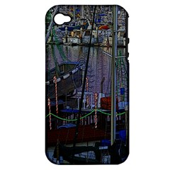 Christmas Boats In Harbor Apple Iphone 4/4s Hardshell Case (pc+silicone)