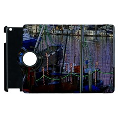 Christmas Boats In Harbor Apple iPad 2 Flip 360 Case