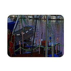 Christmas Boats In Harbor Double Sided Flano Blanket (mini)