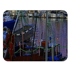 Christmas Boats In Harbor Double Sided Flano Blanket (large)