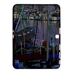 Christmas Boats In Harbor Samsung Galaxy Tab 4 (10 1 ) Hardshell Case