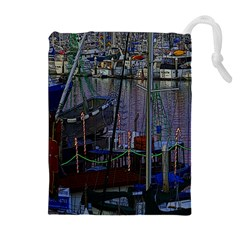 Christmas Boats In Harbor Drawstring Pouches (Extra Large)