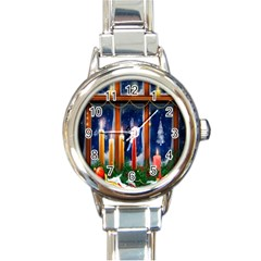 Christmas Lighting Candles Round Italian Charm Watch