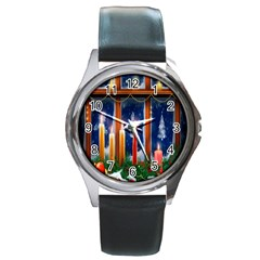 Christmas Lighting Candles Round Metal Watch