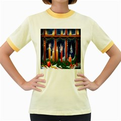 Christmas Lighting Candles Women s Fitted Ringer T Shirts