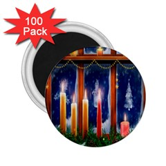 Christmas Lighting Candles 2 25  Magnets (100 Pack)