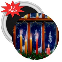 Christmas Lighting Candles 3  Magnets (10 pack)