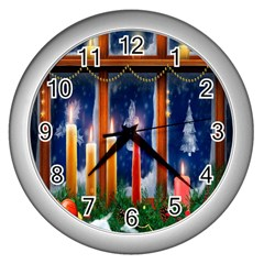Christmas Lighting Candles Wall Clocks (Silver)
