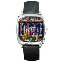 Christmas Lighting Candles Square Metal Watch