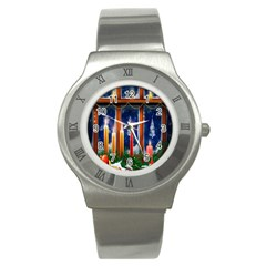 Christmas Lighting Candles Stainless Steel Watch