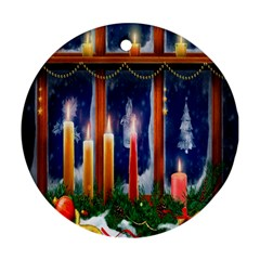 Christmas Lighting Candles Round Ornament (two Sides)