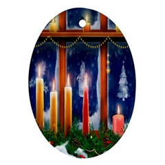 Christmas Lighting Candles Oval Ornament (Two Sides)