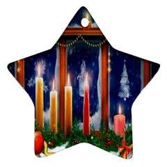 Christmas Lighting Candles Star Ornament (Two Sides)