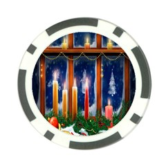 Christmas Lighting Candles Poker Chip Card Guard