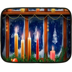 Christmas Lighting Candles Fleece Blanket (Mini)