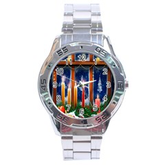 Christmas Lighting Candles Stainless Steel Analogue Watch