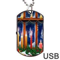 Christmas Lighting Candles Dog Tag Usb Flash (two Sides)