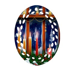 Christmas Lighting Candles Ornament (oval Filigree)