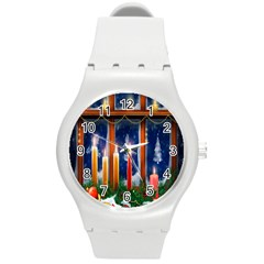 Christmas Lighting Candles Round Plastic Sport Watch (M)