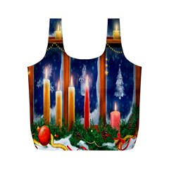 Christmas Lighting Candles Full Print Recycle Bags (M)