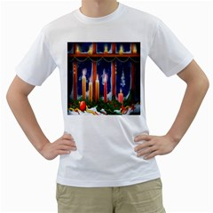 Christmas Lighting Candles Men s T Shirt (white)