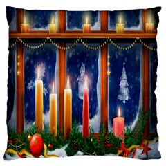 Christmas Lighting Candles Large Flano Cushion Case (Two Sides)