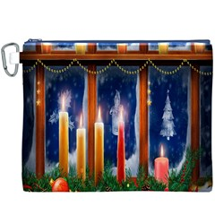 Christmas Lighting Candles Canvas Cosmetic Bag (XXXL)