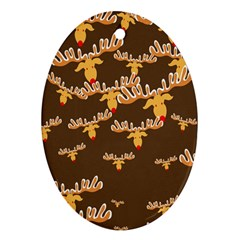 Christmas Reindeer Pattern Ornament (oval)